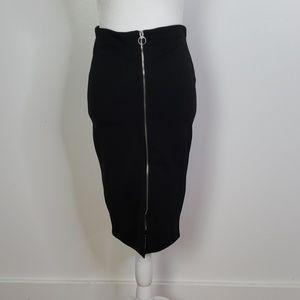 Atmosphere Black Midi Zip Up Skirt, Sz. 6